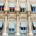 Blue stripes and eight windows by Carol Dumousseau