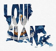 Louisiana Typographic Map Flag by A. TW