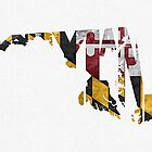 Maryland Typographic Map Flag by A. TW