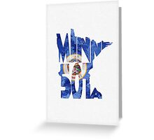 Minnesota Typographic Map Flag Greeting Card