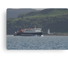 MV Lord of the Isles passing Tobermory Lighthouse Canvas Print