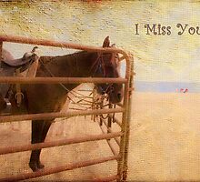 I Miss You ~ Horse Greeting Card by Susan Werby