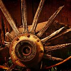 Old Wagon Wheel by Barbara  Brown
