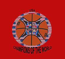 Official basketball with American flag by JoAnnFineArt