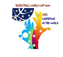 FIBA Official logo decorated with American symbols and text Photographic Print