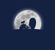 Wall•E and EVE in the Moonlight, Awwwww. by TheCSimmons