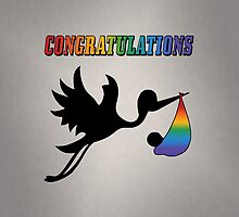 LGBT Rainbow Congratulation Baby and Stork by LiveLoudGraphic