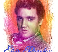 Elvis 50s color pencil digital sketch.  by naturematters