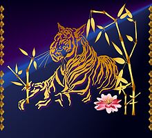 Gold Tiger and Bamboo by Lotacats