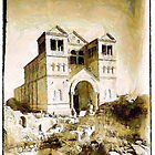 A digital painting of  the Church of the Transfiguration, Mount Tabor, in the 19th century. by Dennis Melling