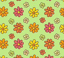 Colorful Flower Pattern on Green Background by amovitania