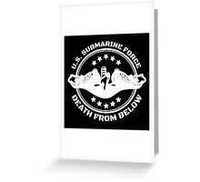 Cool U.S. Submarine Force, Death from Below logo, stars and circle Greeting Card
