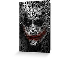 Halloween Black and white Clown typograph Greeting Card
