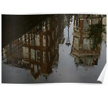Starting to Rain - Amsterdam Canal Houses Reflected Poster