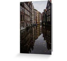 Amsterdam - Serene Fall Reflections Greeting Card