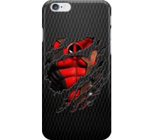 Red Ninja chest ripped torn tee iPhone Case/Skin