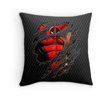 Red Ninja chest ripped torn tee Throw Pillow