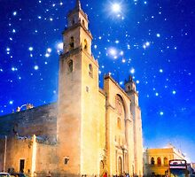 The Stars Shine Down On Historic Merida Cathedral - Mexico by Mark Tisdale