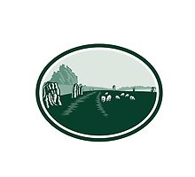 Avebury Stone Henge Circle Retro by patrimonio