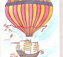 Flying junk airship by Vicky Pratt