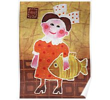 Girl with a fish Poster