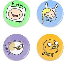 Adventure Time, finn and jake, fionna and cake by ferteban