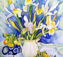 Dutch Iris with Cumquats by scallyart