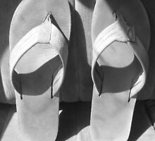 Black and White Flip Flops  by Grace314