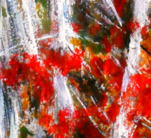 Vermont Fall Autumn Red Maple Leaves Silver Birch Acrylic Painting On Paper Sticker