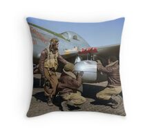 Edward C. Gleed and two other Tuskegee airman — Colorized  Throw Pillow