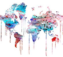 Blue WATERCOLOR MAP by Watercolorsart