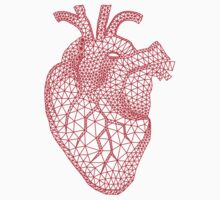 red human heart with geometric mesh pattern Kids Clothes