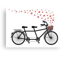 tandem bicycle and flying red hearts for Valentine's day, wedding invitation Canvas Print