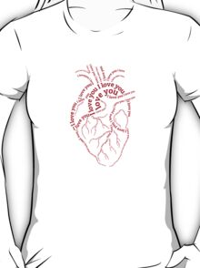 """Red human heart with text """"I love you"""" T-Shirt"""