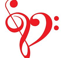 I love music, red heart with music notes by beakraus