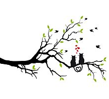 Cats in love with red hearts on spring tree Photographic Print