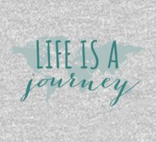 Life is a journey, teal world map Kids Clothes