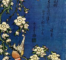 Bullfinch and Drooping Cherry by Katsushika Hokusai (Reproduction) by Roz Barron Abellera