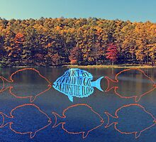 Go Against the Flow Fish in Autumn Lake by Beverly Claire Kaiya