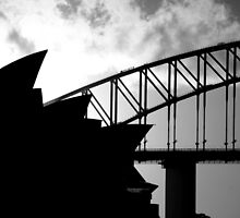 Sydney Opera House and Harbour Bridge - Black and white version by Craig Stronner
