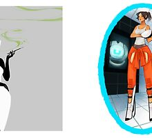 GLaDOS & Chell by jsyka
