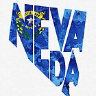 Nevada Typographic Map Flag by A. TW