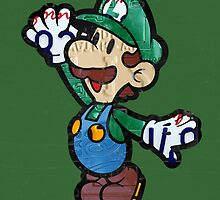 Luigi from Mario Brothers Nintendo License Plate Art Portrait by designturnpike