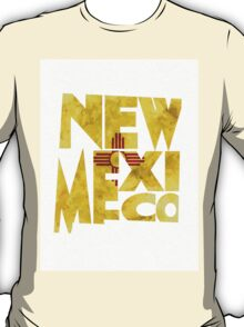New Mexico Typographic Map Flag T-Shirt