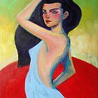 Figure Painting Of a Beautiful Woman In Blue on canvas by Schotter