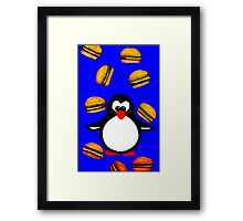 Penguin with Cheeseburgers Framed Print