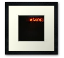 Neon light sign Amor love in Spanish on black medium format film analogue photo Framed Print