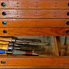 Vintage wooden tool chest by Maggie Hegarty