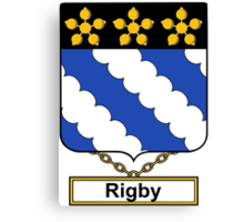 Rigby Coat of Arms (English) Canvas Print