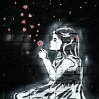 Girl blowing hearts by Banksy by Respire